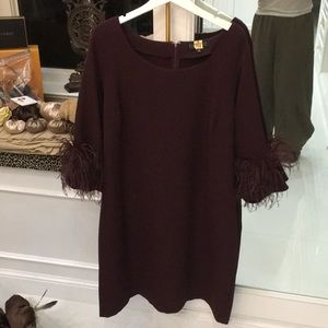 Eloquii dress wine feather sleeve size 16